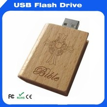 Book shape USB Flash memory with cross logo engraved for christians