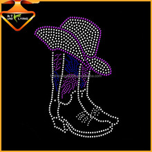 Purple Stone Decorative Cowboy Hat And Shoes Rhinestone Heat Transfer Design Iron On Motif For Garment