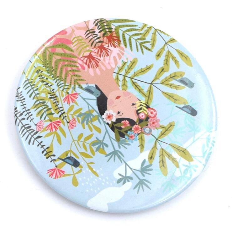 Hot sale design metal makeup mirror , beautiful printing pocket mirror , girls tin mirror