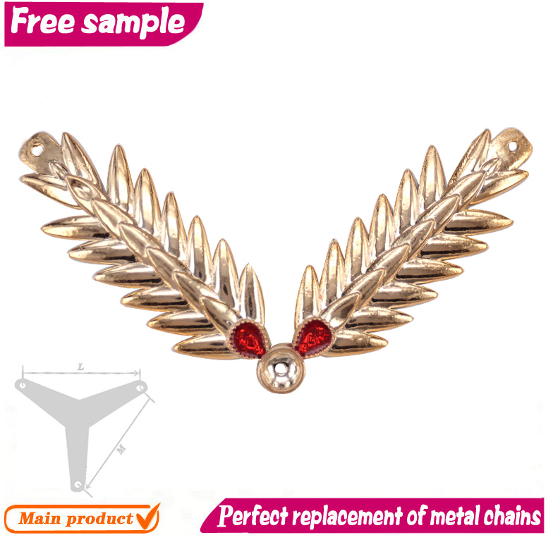 Angle wings gold metal chain shoe decoration
