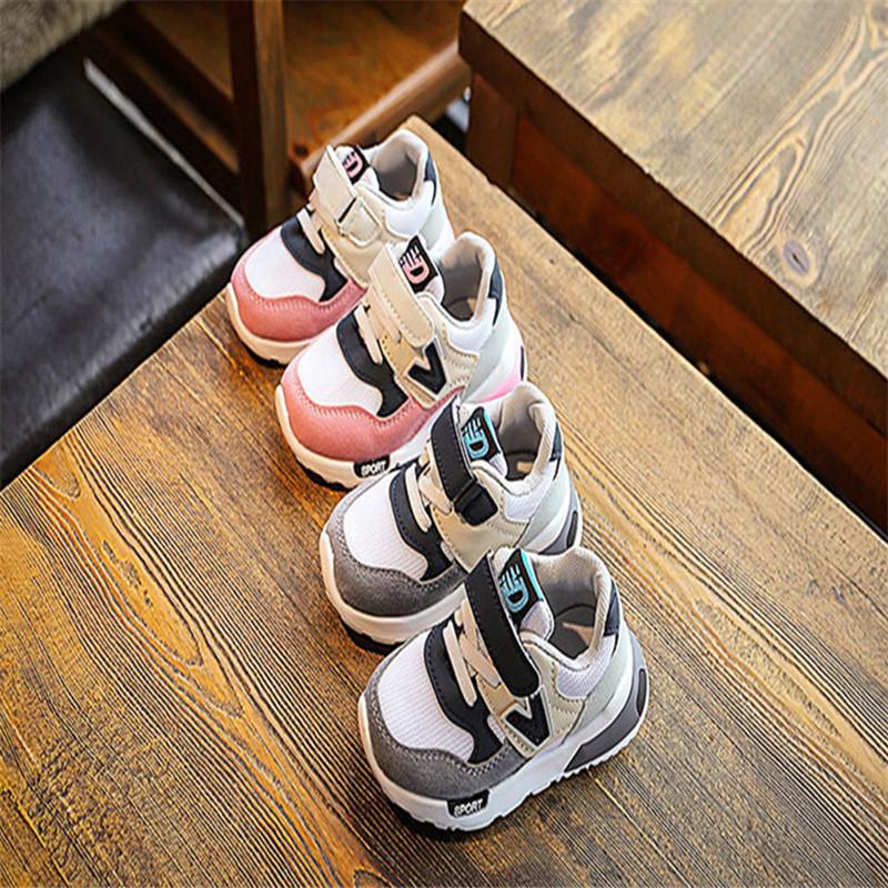 ff673becf476f Nouveau Printemps Automne Enfants Chaussures Rose + Gris Respirant  Confortable Enfants Baskets Filles En Bas Âge