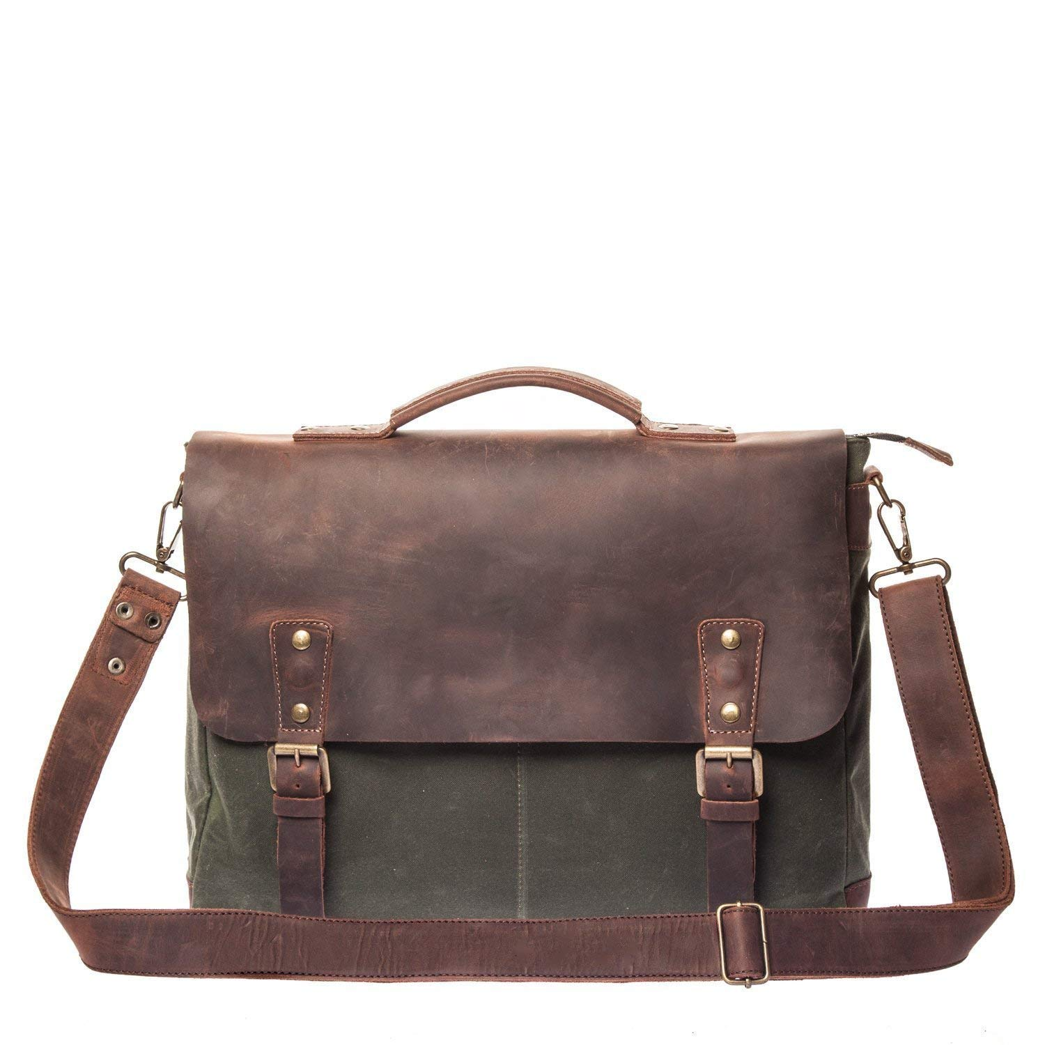 Get Quotations · Vintage Handmade Waxed Canvas   Leather Messenger Bag -  Mens Business Briefcase - Fits Laptops Up d2cb1667bb2d5