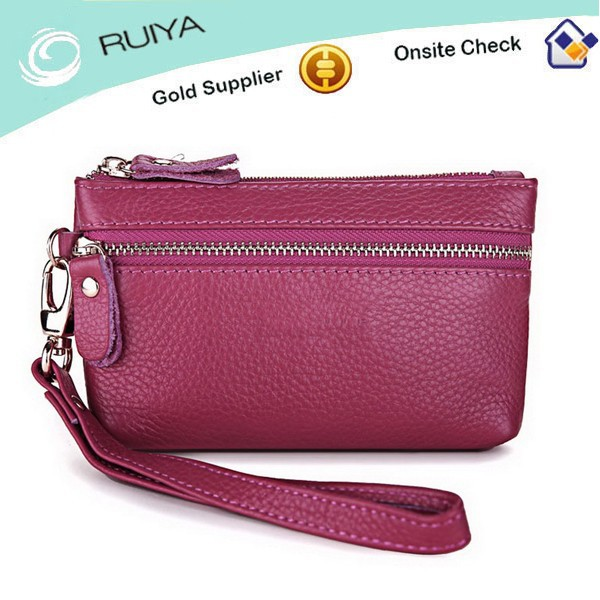 New Popular Designer Rose Red Genuine Leather Ladies Clutch Bag