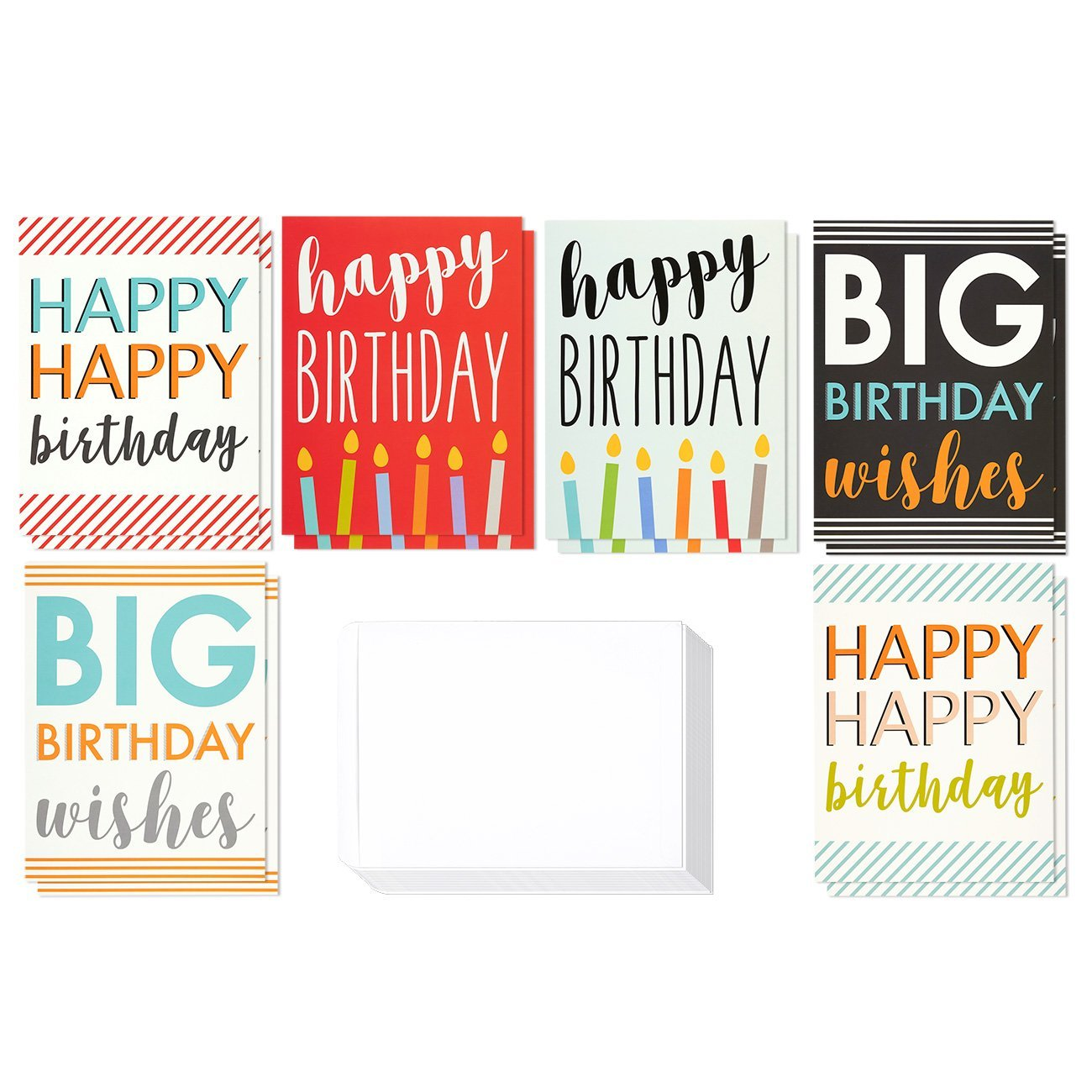 Large Birthday Cards Box Set 12 Pack Jumbo Happy 6 Assorted Designs