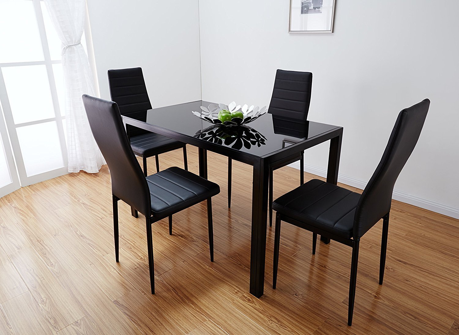 Get quotations · bonnlo modern 5 pieces dining table set glass top dining table and chair set for 4