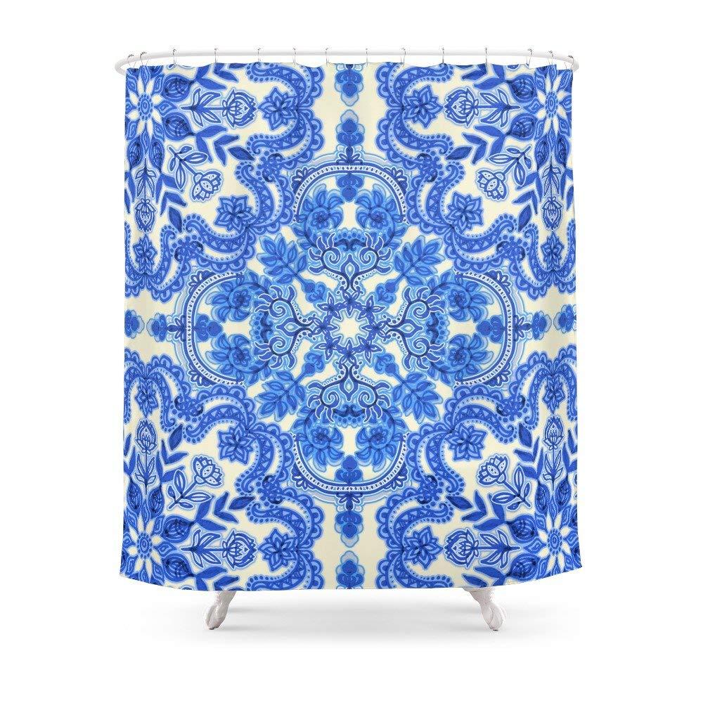 Society6 Cobalt Blue China White Folk Art Pattern Shower Curtain 71