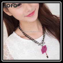 Women Purple Rhinestone Lip Lipstick Pendant Necklace