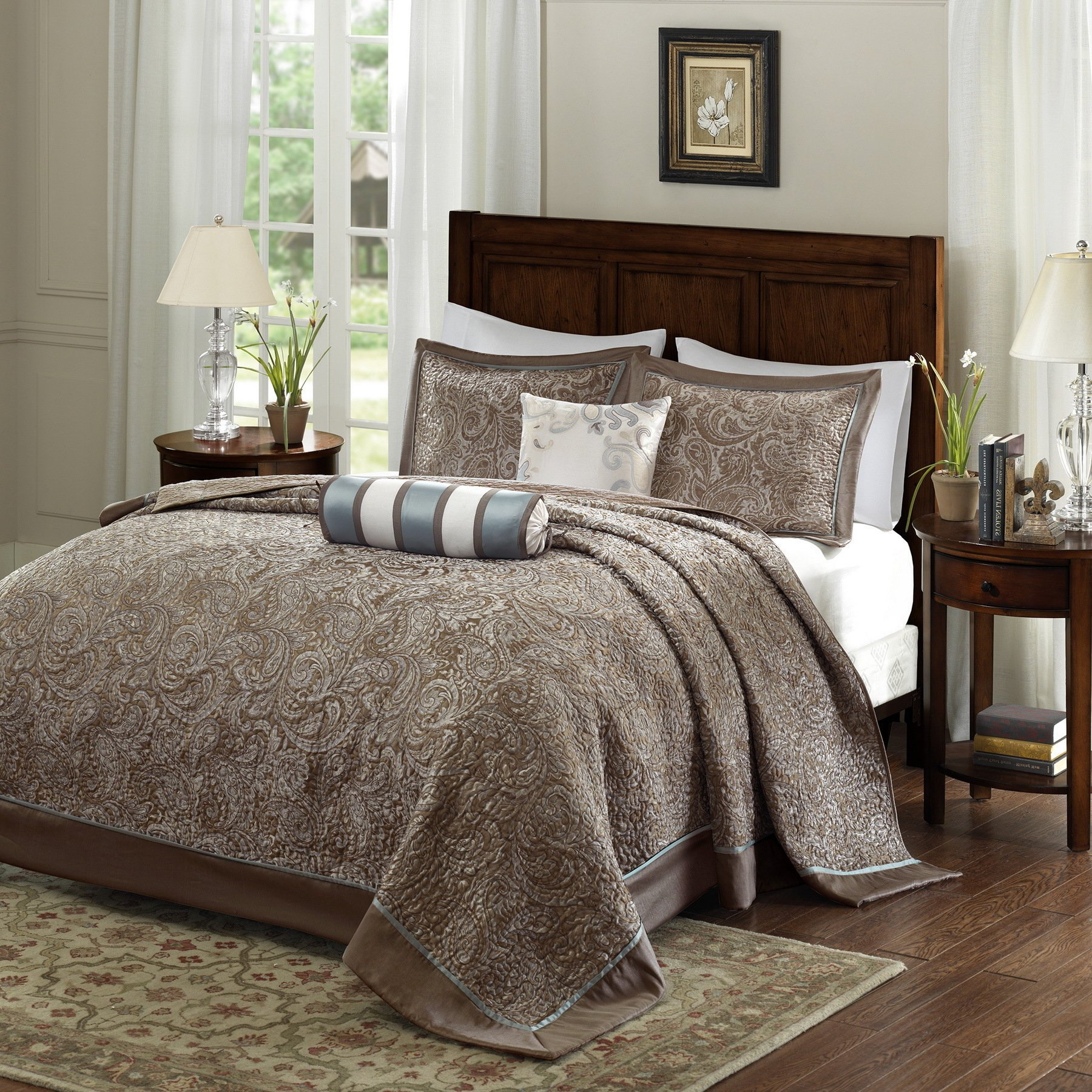 DH 5 Piece 120 x 118 Oversized Blue Brown King Bedspread To The Floor Set, Extra Long Jacquard Paisley Bedding Xtra Wide Drops Over Edge Frame, Drapes Down Sides Hangs Over Bed, Polyester