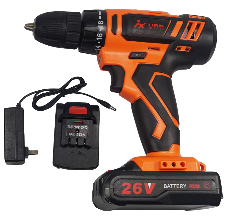 DRK Rechargeable family use Li-ion double speed electric Battery operated screwdriver and <strong>Drill</strong> 26V