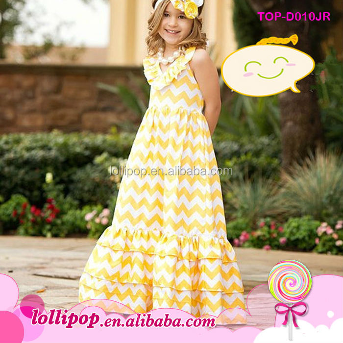 adbb6d40c5de Latest design baby frock yellow white chevron latest children frocks  designs casual children latest fashion dresses