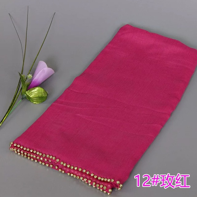 Wholesale multicolor cotton viscose headscarf shawl with nail gold beads hijabs shawls wraps for scarf women hijab