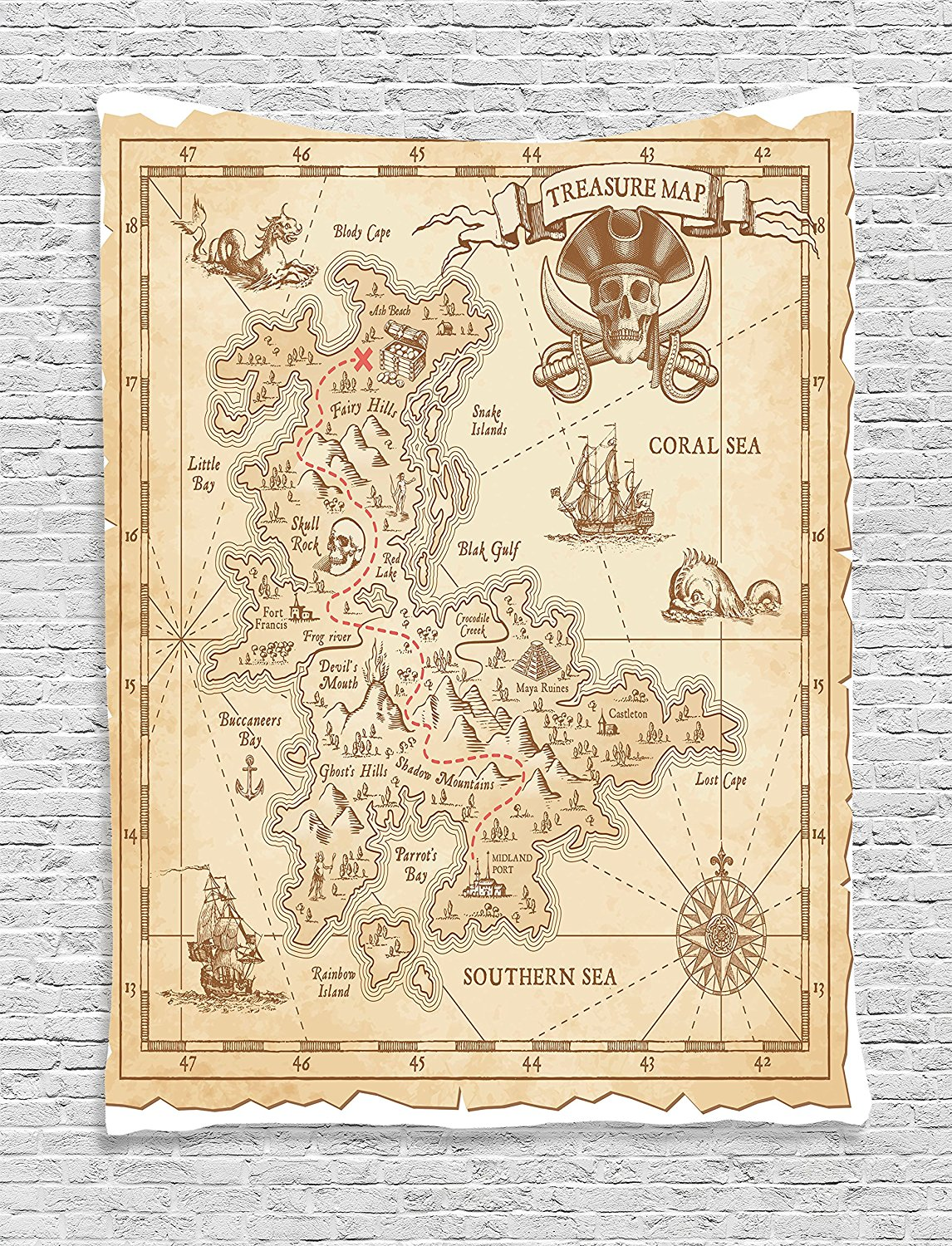 Ocean Island Decor Tapestry By Ambesonne, Old Ancient Antique Treasure Map With Details Retro Color Adventure Sailing Pirate Print, Bedroom Living Room Dorm Decor, 40Wx60L Inches, Cream
