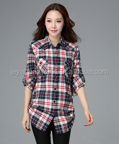 Fashion custom lady's colorful long sleeves printed flannel t-shirt, polo flannel t shirt made from China