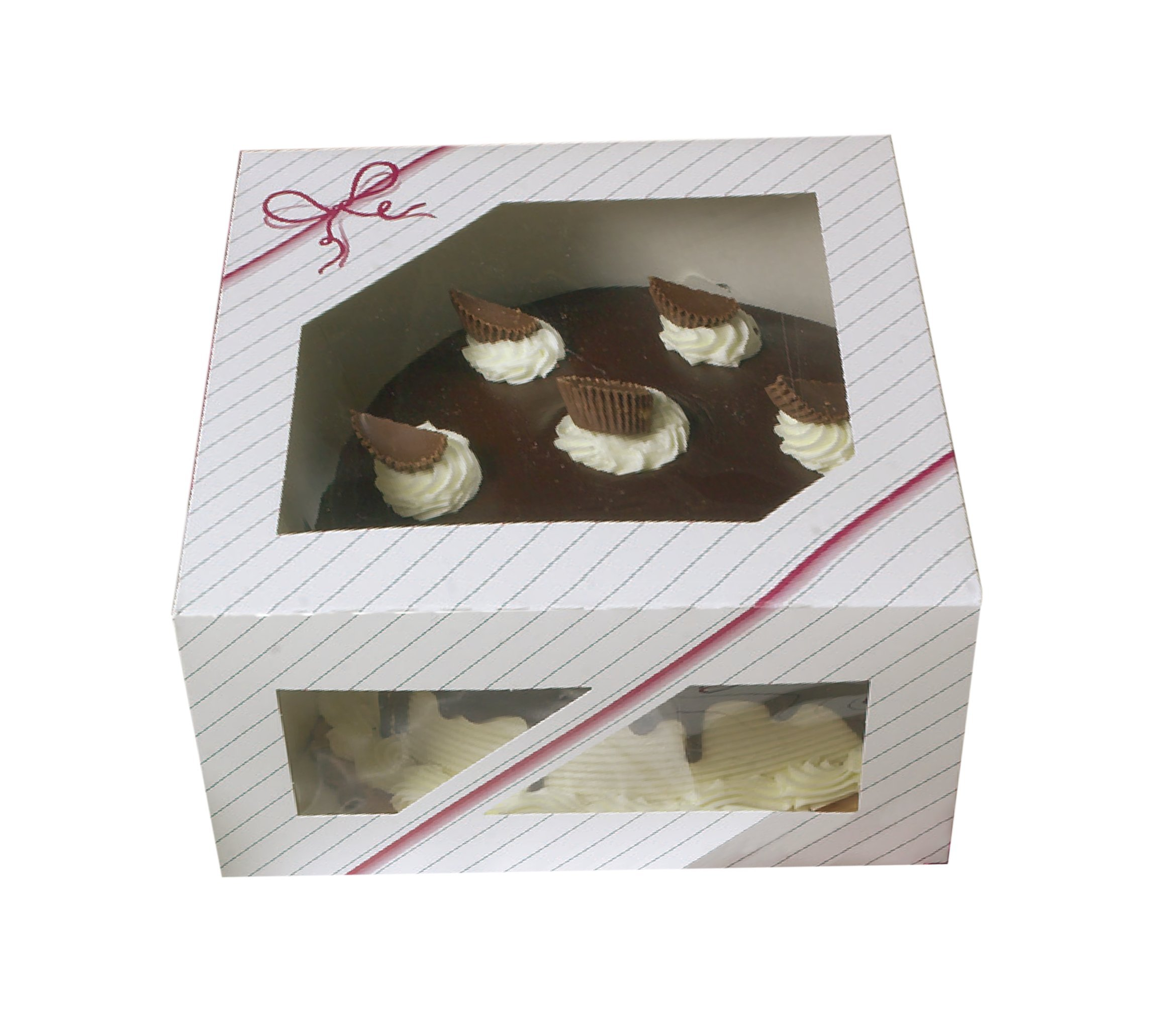 Window Cake Boxes 10 x 10 x 5-8 boxes - Paperboard Auto Popup for round Cake and pie Bakery Boxes - pink striped and string Graphic designed
