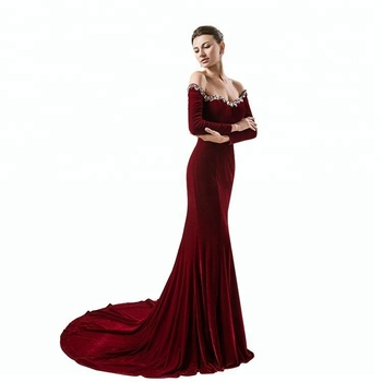 Off The Shoulder Long Sleeves Mermaid Velvet Evening Gown Buy