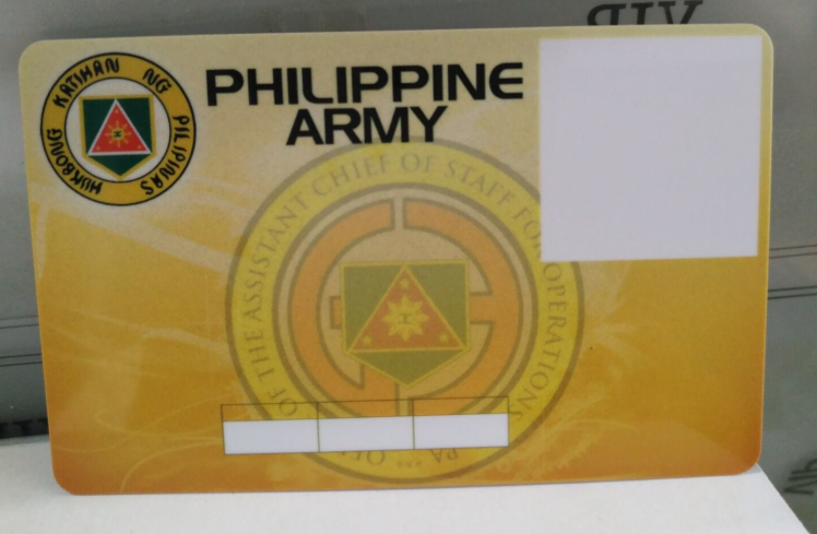 Philippen Army identity PVC card information written card