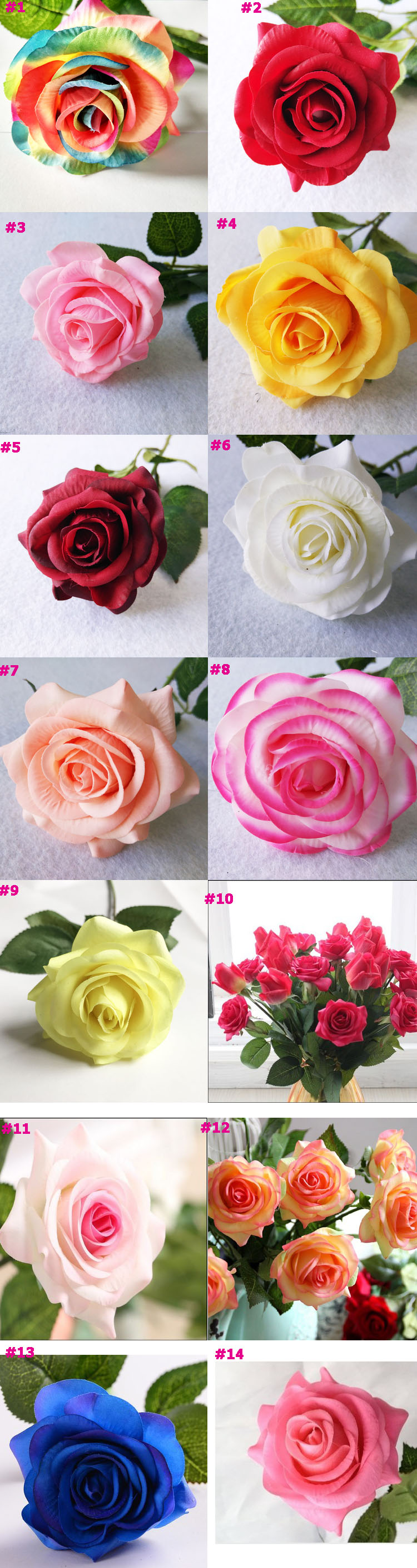 Artificial Flowers Silk Artificial Roses Bridal Wedding Bouquet for Home Garden Party Wedding Decoration