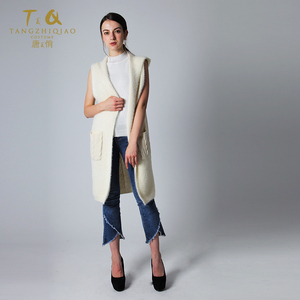 2019 New long sleevelesscardigans women with hood knitted sweater vest ladies knit sleeveless cardigan