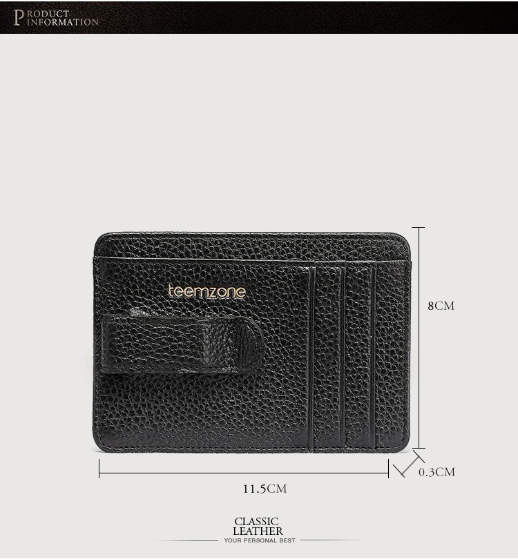 Factory wholesale Men Leather Money Clip magnetic credit card holder rfid