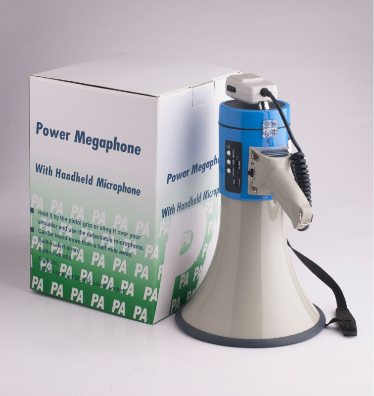 50w high power plastic portable megaphone with SD,MMC and USB compatible function for wholesale