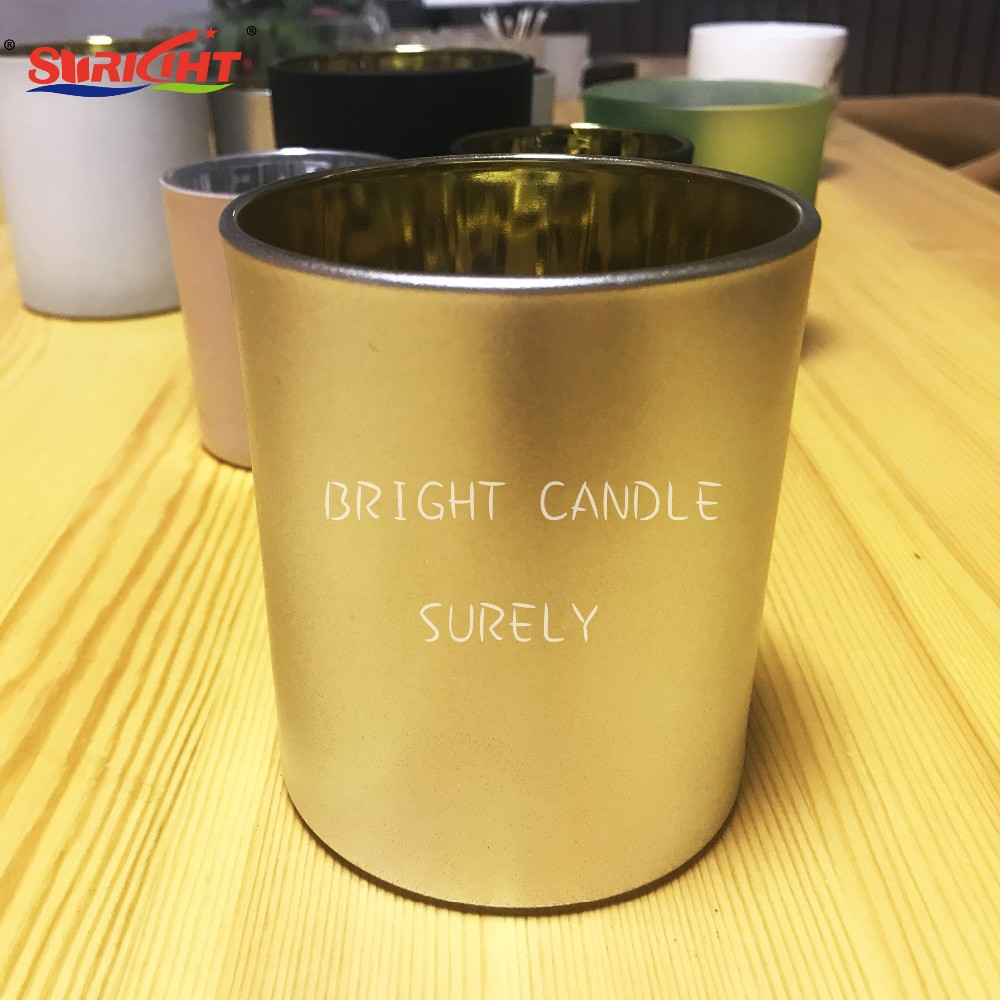 Customized  Logo Black Candle Glass Tumbler /Cylinder  Shinny Gold inside