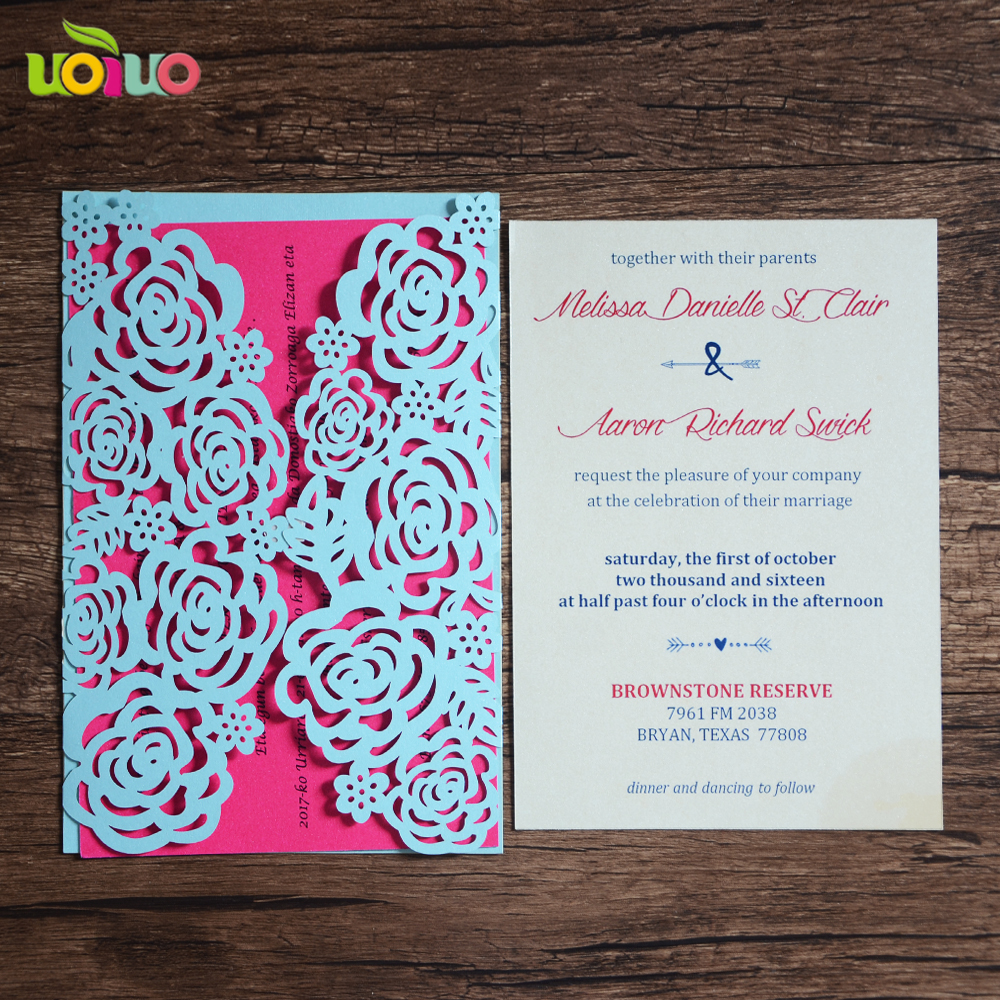 Pink Delicate Design Wedding Cards Unique Party Invite Cheap