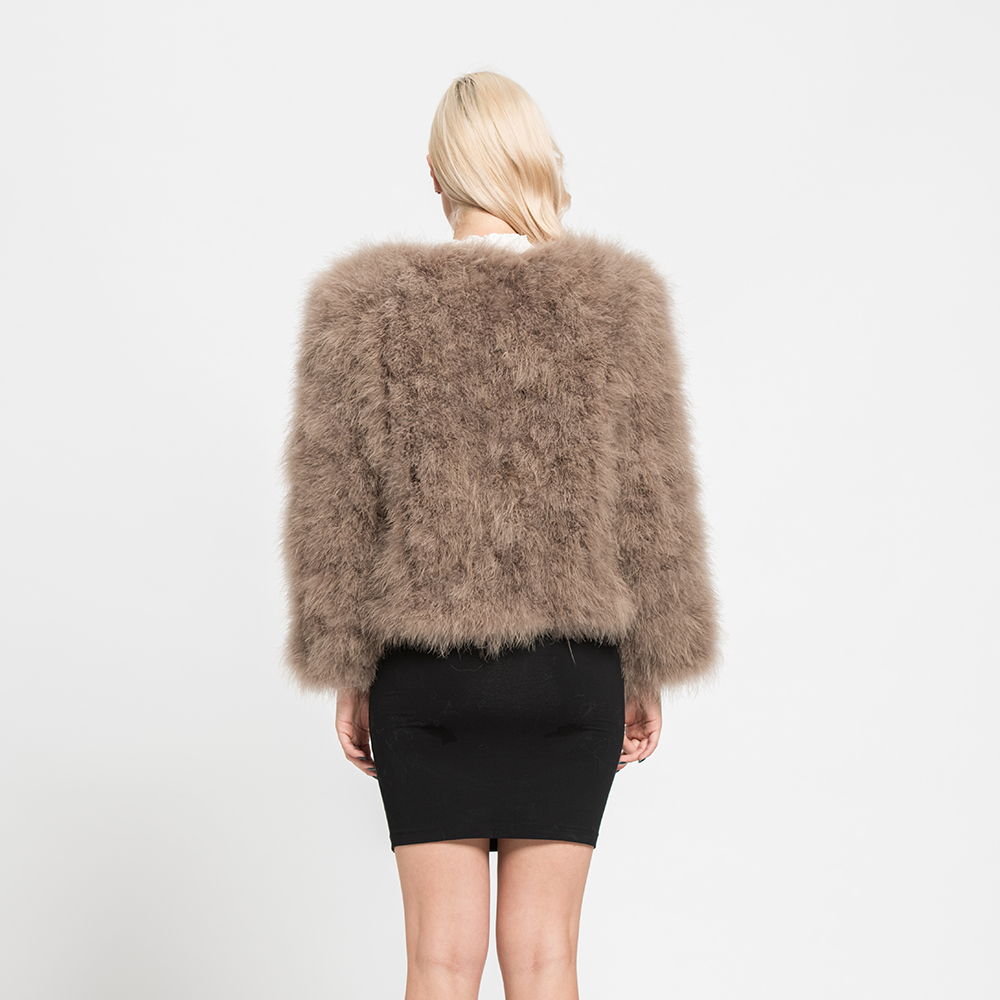Real Ostrich Fur Jackets Winter Warm Thick Fur Coat Women's Overcoats