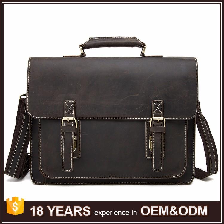 Wholesale Cow Leather Briefcase Plain Shoulder Straps Bag Mens ...