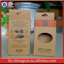 printed small brown kraft paper eco friendly packaging box for shoelace knots