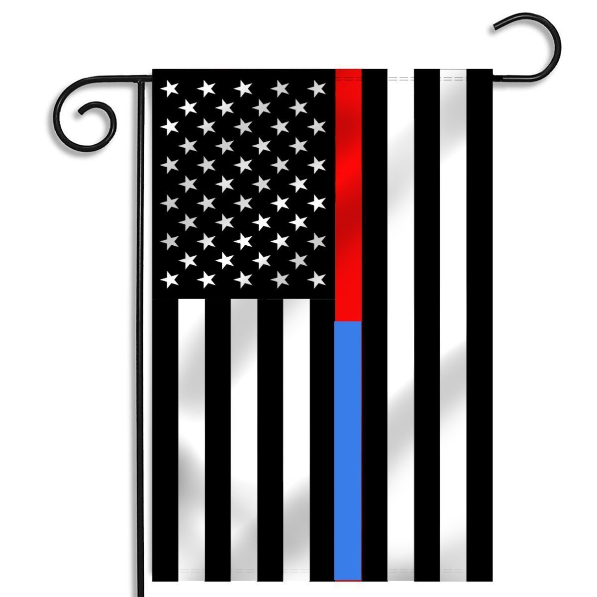 Faylagee-yx Thin Red and Blue Line American Garden Flag 12.5 x 18-Inch Made By Oxford,Blue and Red