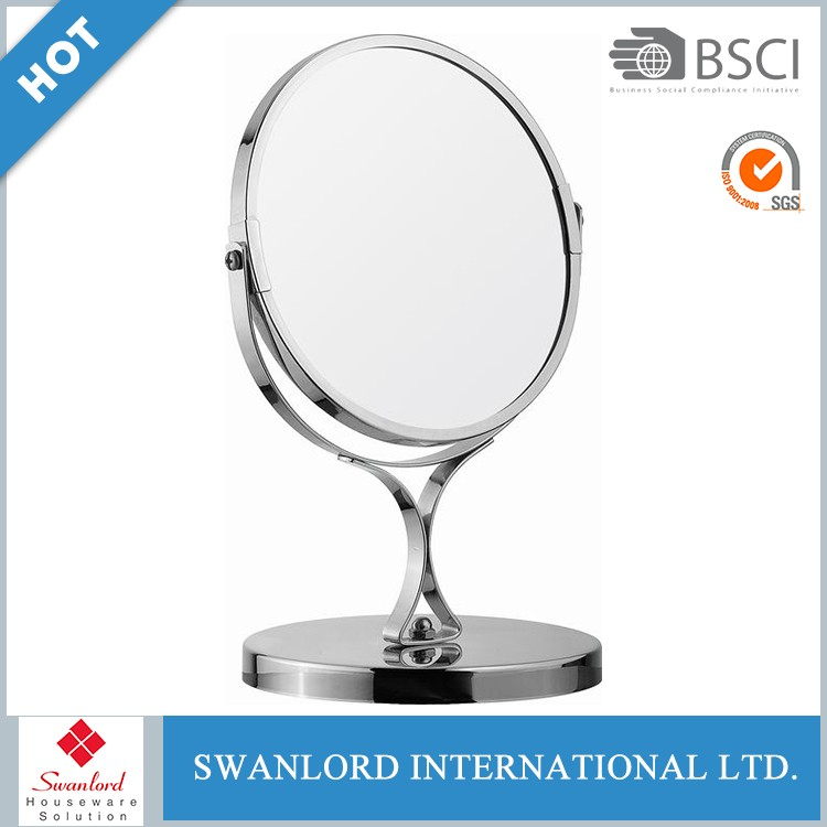 New arrived personalized chrome round metal table top vanity mirror