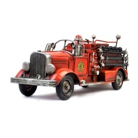 Europe Style Metal Fire Truck Model Retro Nostalgic Ornaments Vintage Craft Bar Home Decor Accessories Gift Antique