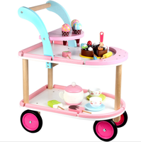 Toys For Kids New 2020 Amazon High Quality Children's Afternoon Tea Dessert Ice Cream Cart On Wheel Wooden Food Candy Cart Toy