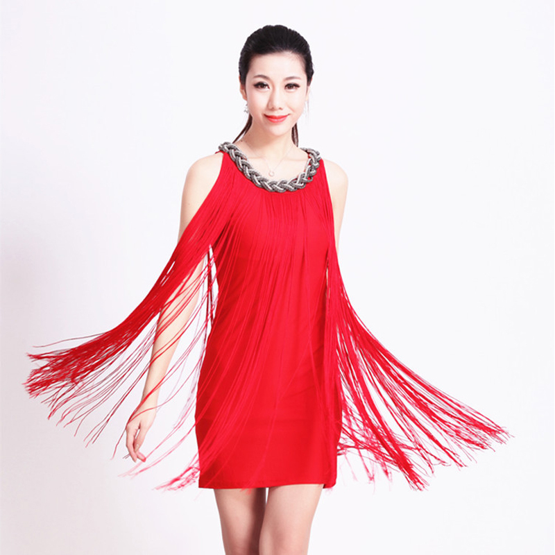 Latin Dance Dress Women Tassel Modern Jazz Salsa Tango ...