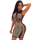 Sexy sequined rhinestone transparent halter open back sleeveless party club mini dress clothing woman