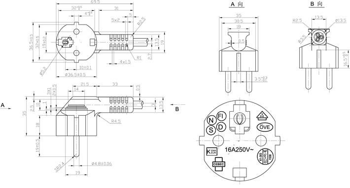Cee 7  7 Plug Type Korean Power Cord