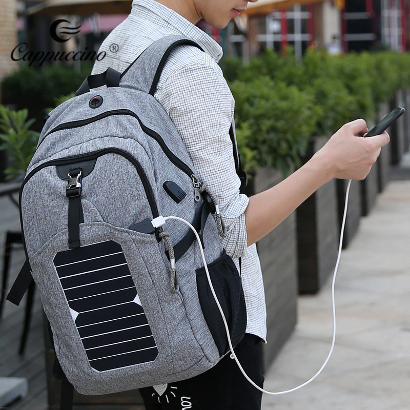 Backpack Factory 2018 Solar Powered Charger Backpack, Computer Charging Canvas Laptop USB Bag for Hiking Camping Traveling