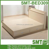 Home furniture wood storage double bed