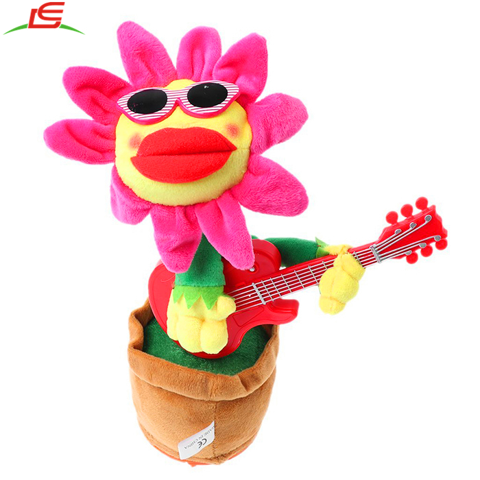 Singing Dancing Sunflowers Guitar Soft Plush Potted Funny Electric Musical Christmas Birthday Toys