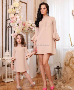 Hot sell Family Matching Clothes Mother and Daughter Matching Summer Ruffle Dress