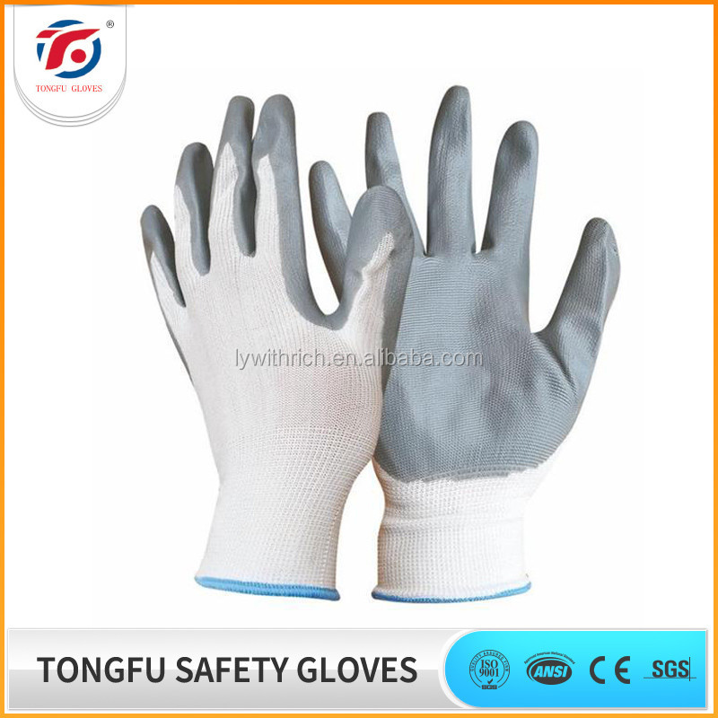 China manufacture oil proof 13 gauge polyester liner nitrile coated gloves