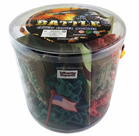 Action Figures Army Men Soldier Bucket Play Set with Tanks/Planes, Flags & More plastic figure