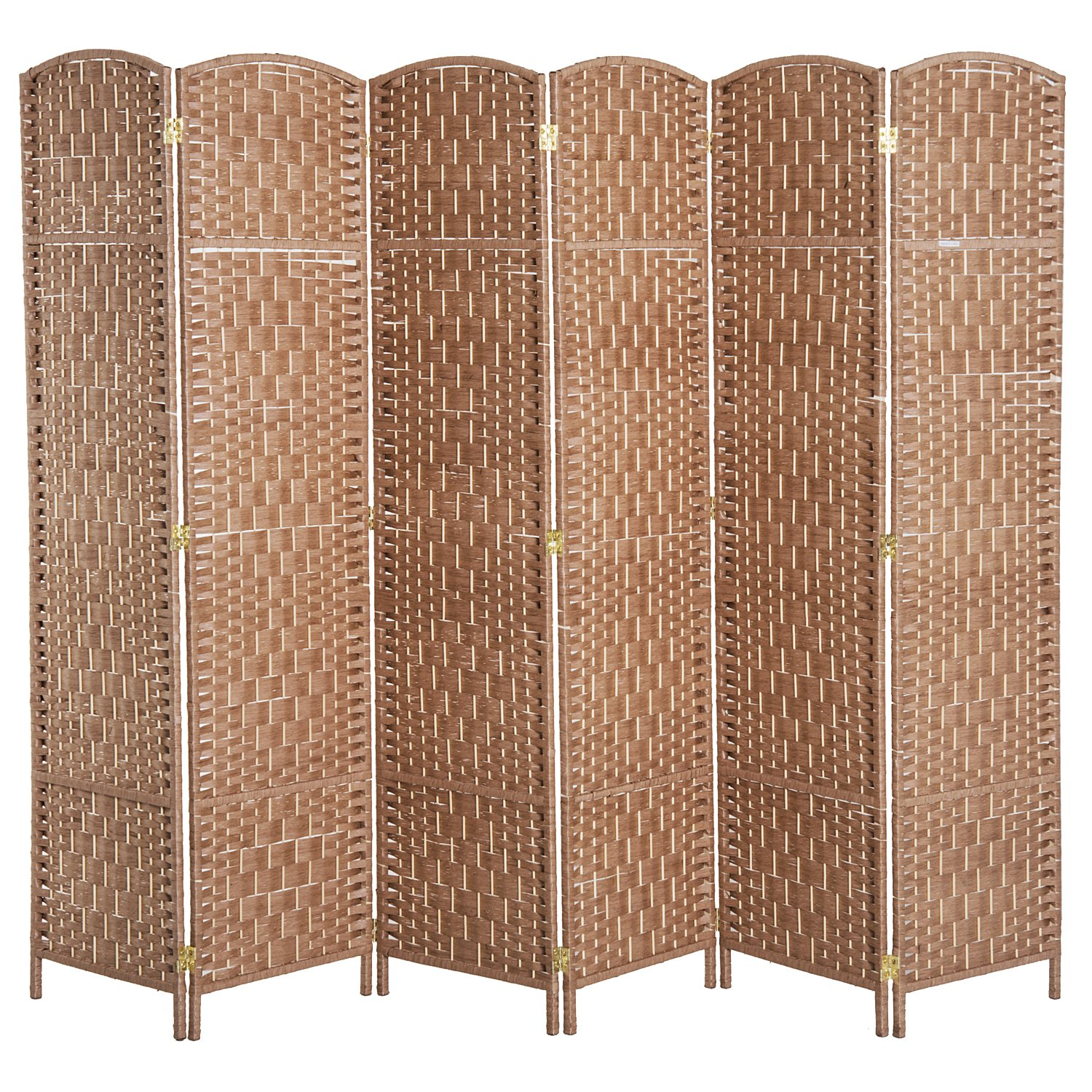 Get Quotations Homcom 6 Tall Diamond Weave Woven Fiber Room Divider Natural Wood Panel