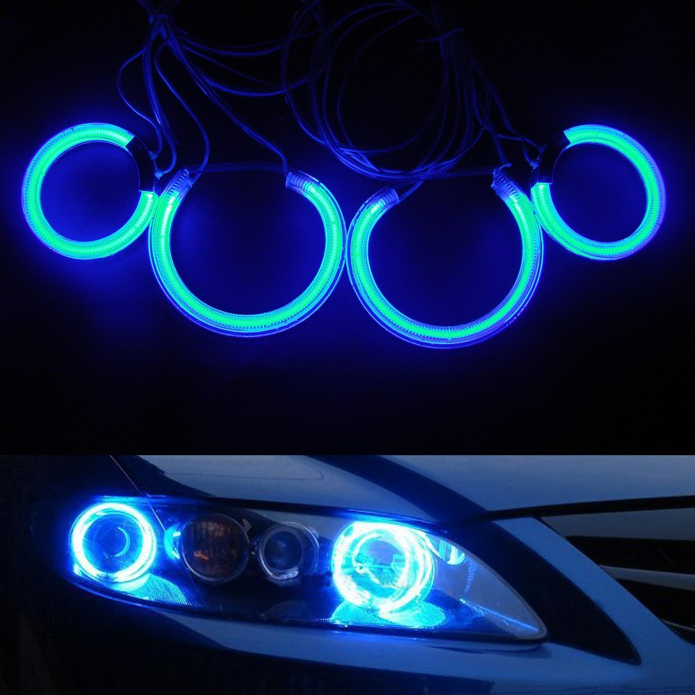 NSLUMO 8000k Ultra Bright Ccfl Angel Eyes Kit Yellow White Blue Red Purple Halo Ring Lamp Bulb for Mazda6 4 Rings and 2 Inverters