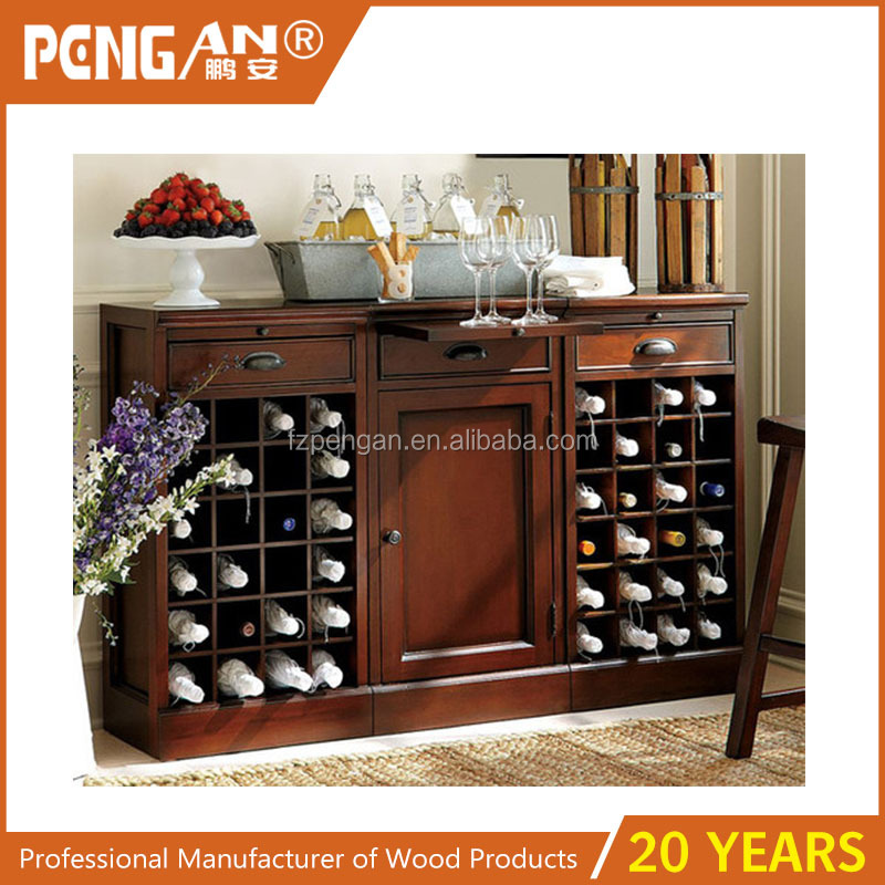 traditional wine and bar modular buffet with 2 wine grid bases 1 cabinet base