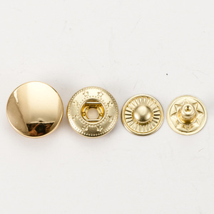 Custom logo round flatback gold color metal snap shirt button for coat