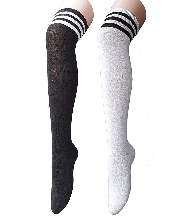 ba7d0e7bc3e Get Quotations · Century Star Lovely Stripe Thick Socks Women s Over the  Knee Thigh High Stockings Cosplay Socks for