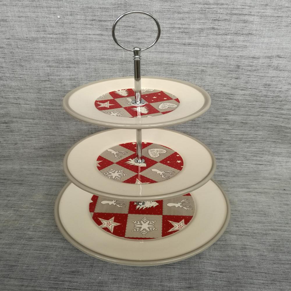 Kuchenturmplatten-Nachtischplatte der Weihnachtsrunden keramischen Parteiwarenplastik drei