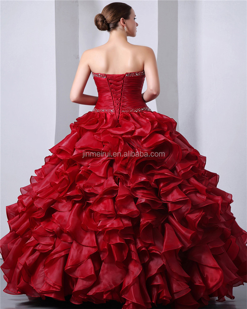 Red Sleeveless Sweetheart Elegant Floor Length Evening Gowns Lace-up Beaded Sequins 2018 Piping Quinceanera Dresses