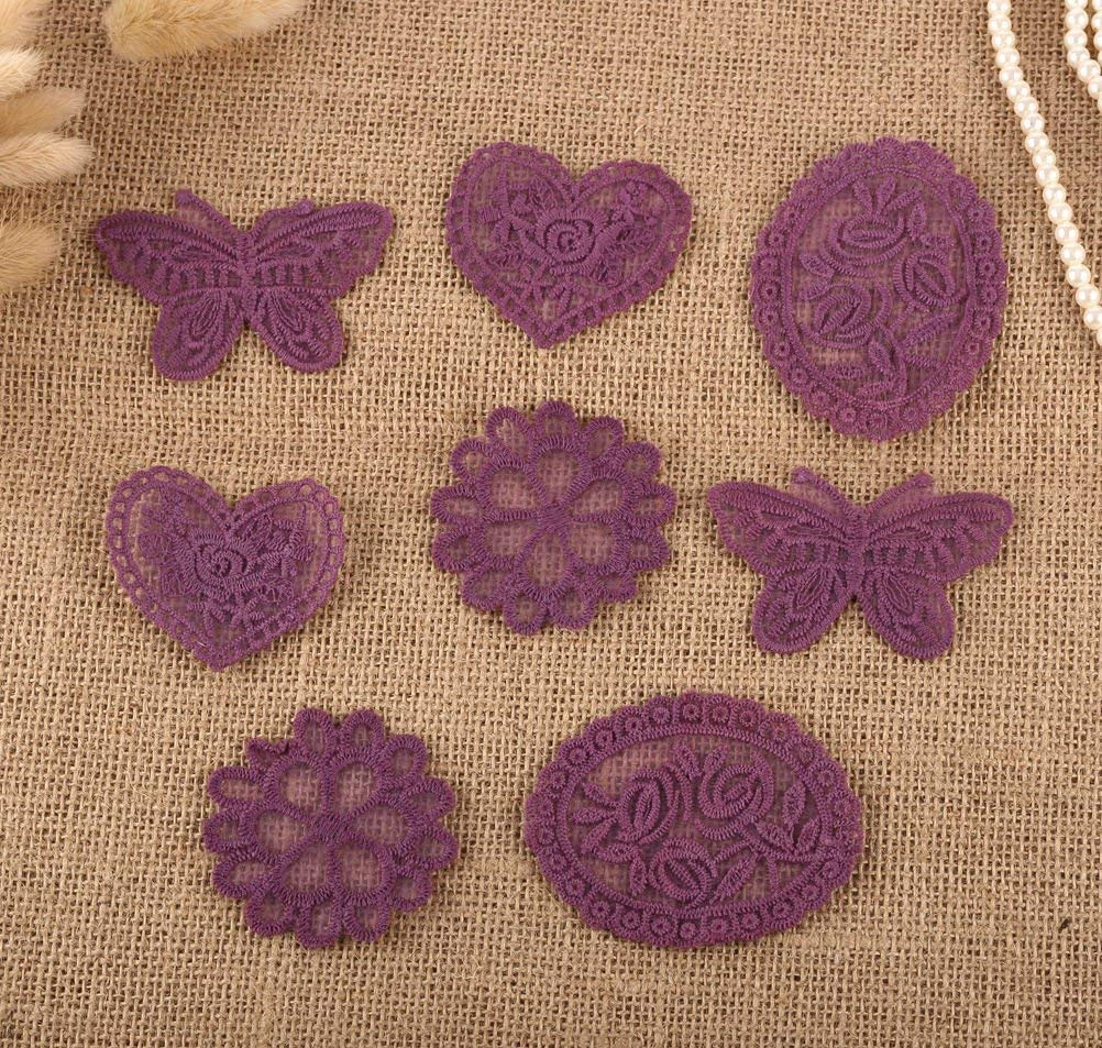 CraftbuddyUS 8 x Vintage Mixed Purple Lace Motifs Patches Sewing Sew on Stick on Crochet